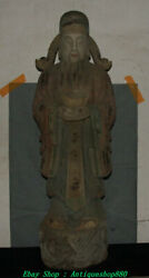 125cm Old China Wood Lacquerware Wealth Mammon Money Wealth God Yuanbao Statue