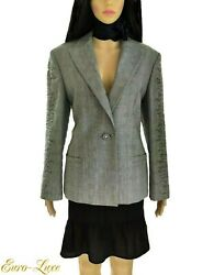 1990's Gianni Versace Couture Embroidered Black And White Medusa Jacket It 46/ 8