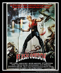 Flash Gordon Very Rare 4x6 Ft Vintage Belgian Grande Movie Poster Original 1980