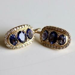 Stoplight 14k Gold And Iolite Drop Earrings Museum Of Jewelry