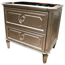 Best Master Palais 2-drawer Bedroom Nightstand W/bevel Glass In Bronze Champagne