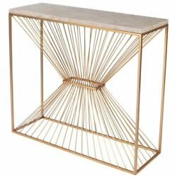 Butler Specialty Cosmo Fossil Stone And Metal Console Table In Gold
