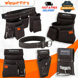 Wrightfits Leather Tool Belt Apron -nail And Tool Pouches -drill And Hammer Holsters