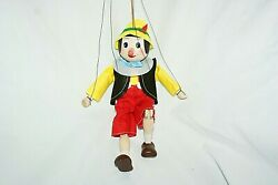 Puppet Pinocchio 4 Strings Czech Wooden Hand Painted Marionette Art Doll 22 Cm
