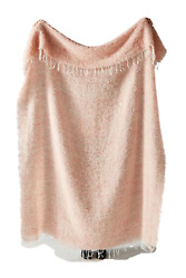 """Anthropologie Delphine Woven Wool Mohair Pink 71""""x 51"""" Oblong Throw Blanket"""