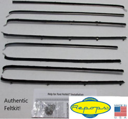 1955 1956 Ford Country Squire 4d Wagon Door Window Felt Fuzzies Rubber Seal 8 Pc