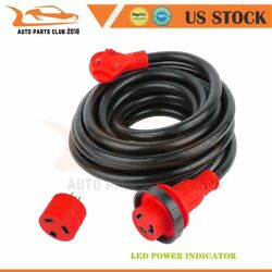 Rv Power Cord 25 Ft 30 Amp Detachable Cable With Led Twist Lock Connector