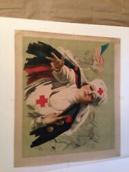 """Ww1 Orginal 102yrs Old Poster """"red Cross Lady And American Flag"""" 1918"""