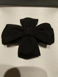 Cross Ribbon Barretta Black Coco Hair Ornament Pin Clip Engraved Vintage