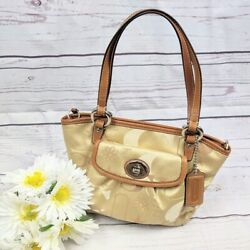 Coach Tan Brown Monogrammed Bag with Flower Accent $55.00