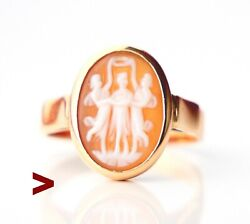 Antique Signet Shell Cameo Three Graces Solid Ring 18k Gold Andoslashus 6.5 /3.7gr