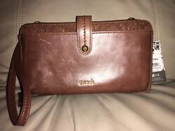NWT The Sak Women#x27;s Iris Brown Lg Leather Smartphone Crossbody Wallet $39.99