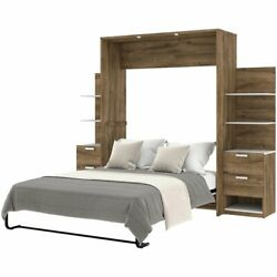Bestar Cielo Elite 3 Piece Queen Wall Bed In Rustic Brown And White