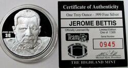 Jerome Bettis Nfl 1 Oz Silver Proof Los Angeles Rams Sports Round With Coa