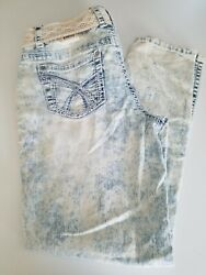 NOBO No Boundaries Juniors Curvy Skinny Fit Blue Jeans Belted Size 13 $17.99
