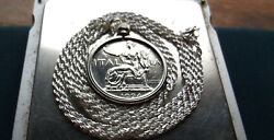 1924 Italy Liberty Lire Pendant On 24 Italian Made Sterling Silver Rope Chain