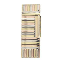 Dunhill Gas Lighter Outer Jacket Striped Solid Gold 18k A Grade