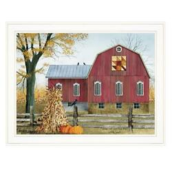 Autumn Leaf Quilt Block Barn By Billy Jacobs Printed Art Wood Multi-color