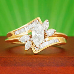 1.50Ct Marquise amp; Baguette Cut Diamond 14K Yellow Gold Finish Engagement Ring $88.43