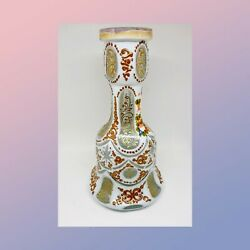 Superb 19th Century Czech Bohemian White Cased Cut To Clear Hand Painted Gold Sc