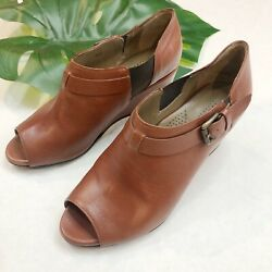 Anyi Lu Brown Leather Open Toe Shoes Size 6.5