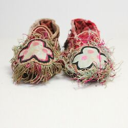 Pair Of Antique Chinese Handmade Embroidered Lotus Children's Shoes / Ss907