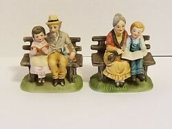 Lefton Figurines #5989 Woman Boy amp; Man Girl On Bench Reading a Book Lot of 2