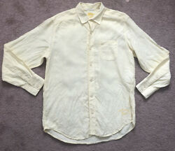 Tommy Bahama Long Sleeve Button Down Shirt Yellow 100% Linen Size Small $19.99