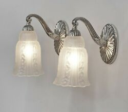 Hettier And Vincent Pair Of French 1930 Art Deco Wall Sconces 2 .. Lamp France