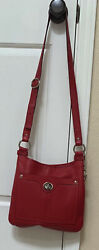 Coach Penelope Pebbled Leather Red #x27;Hippie#x27; Crossbody Bag Shoulder Purse F16533 $84.99