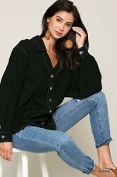 Small Gigio By Umgee Black-slate Topstitch Button Tunic Shirt/top/blouse Bhcs