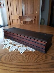 Antique Elongated Box Pine Wood Hinged Lid Dark Stain 23w×7.25d×4t