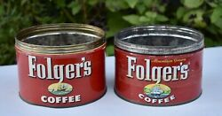 Vintage Folgers Coffee Cans Tin 1952 1959 Key Wind No Lids Ships