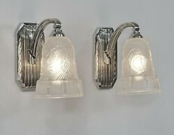 Hettier And Vincent Pair Of French 1930 Art Deco Wall Sconces 1... Lamp France