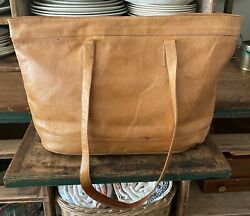 Made in Paraguay Purse Bag Tote Camel Leather Carry Shoulder Zipper $38.00
