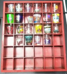 Wood Shot Glasses Display Case 36 Compartments Wall Shelf Glasses Included $46.00