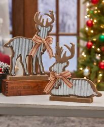 Set Of Rustic Wood And Galvanized Metal Reindeer Figures Country Lodge Christmas
