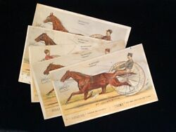 5 Boraxine Creme Advertising Cards ©1881 Illus Harness Racers, Named Horses