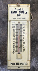 """Vtg 1960s F And L Farm Supply Inc. Advertising Thermometer 7.5"""" West Unity Ohio"""