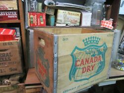 Canada Dry Brand Wooden Wood Delivery Box Crate Bottle Carrier Shipping 1959 Vtg