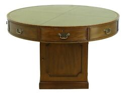 F32281ec Kittinger Large Round Leather Top Mahogany Rent Or Drum Table