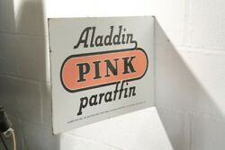 Aladdin Pink Paraffin Enamel Metal Sign Excellent Double Sided