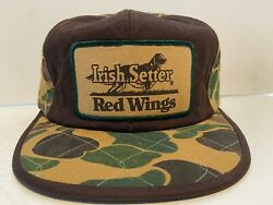 Vintage Red Wings Irish Setter Camo Cap Hat Ear Flaps Sz L Hunting Thinsulate