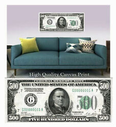 Large Poster 500 Us Note 16x 40 Printed On Canvas