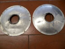 6048 - Rear Wheel Hub Covers - Pair Of- Very Badly Dented - Sold As Seen
