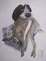Boris Riab Russian Artist Signed Painting German Wirehaired Pointer C 1945