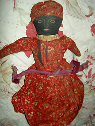 Wonderful Early Antique Topsy-turvy African American Primitive Cloth Doll 12 1/2