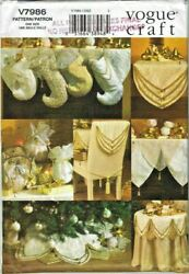 Vogue Craft Sewing Pattern V7986 Victorian Christmas Home Decorations Stocking..