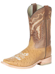 Menand039s Western Rodeo Cowboy Boots Exotic Genuine Ostrich Belly Leather Umber