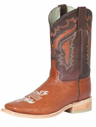 Menand039s Western Rodeo Cowboy Boots Exotic Genuine Ostrich Belly Leather Brandy